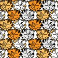 Seamless pattern with colorful cute strips cats.