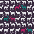 Seamless pattern with colorful deers in love Stock Photo