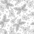 Seamless illustration with   dragonflies and flowers ,dark outlines on light background Royalty Free Stock Photo