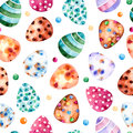 Seamless pattern with colorful easter eggs clipart on white bqckground hand painted can be used for wallpaper print Stock Photos