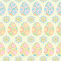 Seamless pattern of colorful eggs and circle with ornaments. Decorative Easter eggs in pastel colors.