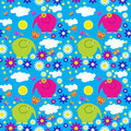 Seamless pattern with colorful elephants on a background of clou