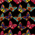 Seamless pattern of colorful embroidered butterflies on a black