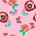 Seamless pattern of colorful embroidered butterfly and colorful