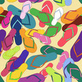 Seamless pattern of colorful flip flops Royalty Free Stock Photo