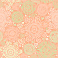 Seamless pattern with colorful flowers and hearts endless can be used for wallpaper fills web page background Stock Images