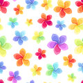 Seamless pattern with colorful flowers multicolored iridescent on a white background Stock Image