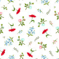 Seamless pattern with colorful flowers. Vector illustration. Royalty Free Stock Photo