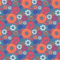 Seamless Pattern with Colorful Gears and Cogwheels