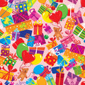 Seamless pattern with colorful gift boxes present presents balloons and teddy bears on pink background Royalty Free Stock Images