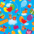 Seamless pattern with colorful gift boxes present presents balloons and teddy bears on sky blue background clouds Stock Images