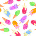 Seamless pattern with colorful ice cream cone and popsicle. Summer texture Royalty Free Stock Photo