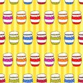 Seamless pattern colorful jars with jam in doodle style holiday background Royalty Free Stock Photo