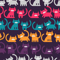 Seamless pattern with colorful kittens little Royalty Free Stock Images
