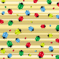 Seamless pattern with colorful ladybirds vector Royalty Free Stock Images