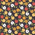 Seamless pattern with colorful leaves and apples  on pur Royalty Free Stock Photo