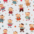 Seamless pattern with colorful little pigs Royalty Free Stock Photo