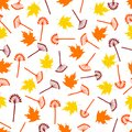 Seamless pattern with colorful maple leaves and branches on the