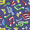 Seamless pattern with colorful music notes