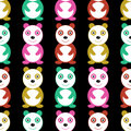 Seamless pattern with colorful pandas funny Stock Photography