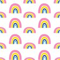 Seamless pattern with colorful rainbow on a white background. Vector