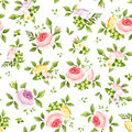 Seamless pattern with colorful roses and green leaves. Vector illustration. Royalty Free Stock Photo