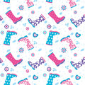 Seamless pattern with colorful rubber boots