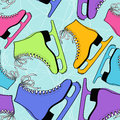 Seamless pattern of colorful skates on a ice rink background Royalty Free Stock Photos