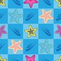 Seamless pattern with colorful star-fishes Royalty Free Stock Photography