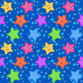 Seamless Pattern, Colorful Stars Smiley