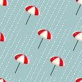 Seamless pattern of colorful umbrellas and rain drops design fashion, fabric,wrapping paper, surface . Rainy season repeatable