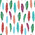 Seamless pattern of colorful watercolor feathers. Hand drawn