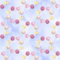 Seamless pattern with colorful watercolor pastel buttons