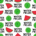 Seamless pattern with colorful watermelons and words Watermelon. Royalty Free Stock Photo