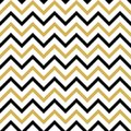 Seamless pattern with black and gold zigzag