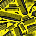 Seamless pattern combs on yellow background Stock Photo