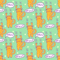 Seamless pattern with comic cartoon cat. Scratching kitten with speech bubbles. Simply editable vector texture for fabric, cover,