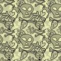 Seamless pattern of comic skulls and bones Royalty Free Stock Photos