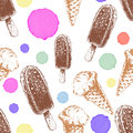Seamless pattern with cone waffle ice cream and chocolate ice cream. Royalty Free Stock Photo