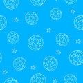 Seamless pattern with contour elements: donuts, stars. Vector background