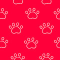 Seamless pattern with contour trail paws. Ornament for bandanas. Vector background