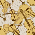 Seamless pattern of contrabass and violin vintage Royalty Free Stock Photography