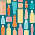 Seamless pattern with cosmetic bottles bright over blue Royalty Free Stock Image