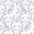 Seamless pattern with cosmic stars in the sky. Bright interstellar decor on repetition background.
