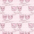 Seamless pattern with a couple of cats in love and inscriptions Royalty Free Stock Photo