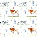 Seamless pattern of a cow, flower and milk.Farm animals. Royalty Free Stock Photo