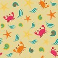 Seamless pattern with crabs Stock Photos