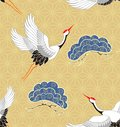 Seamless pattern with cranes. Japanese pattern. Vector.