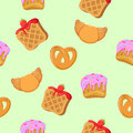 Seamless Pattern with Croissants, Wafers, Cupcakes