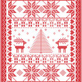 Seamless pattern in cross stitch with Christmas tree, snowflakes, gifts, reindeer, hearts and ornaments